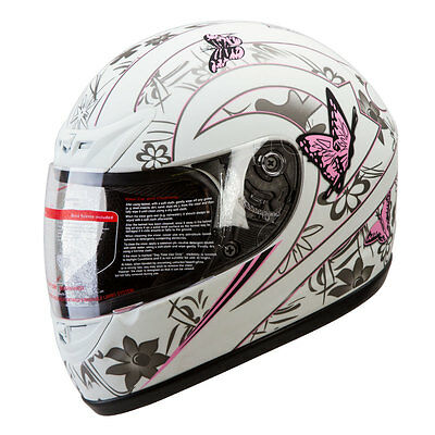 MATTE WHITE PINK BUTTERFLY FULL FACE MOTORCYCLE HELMET DOT size: S, M, L