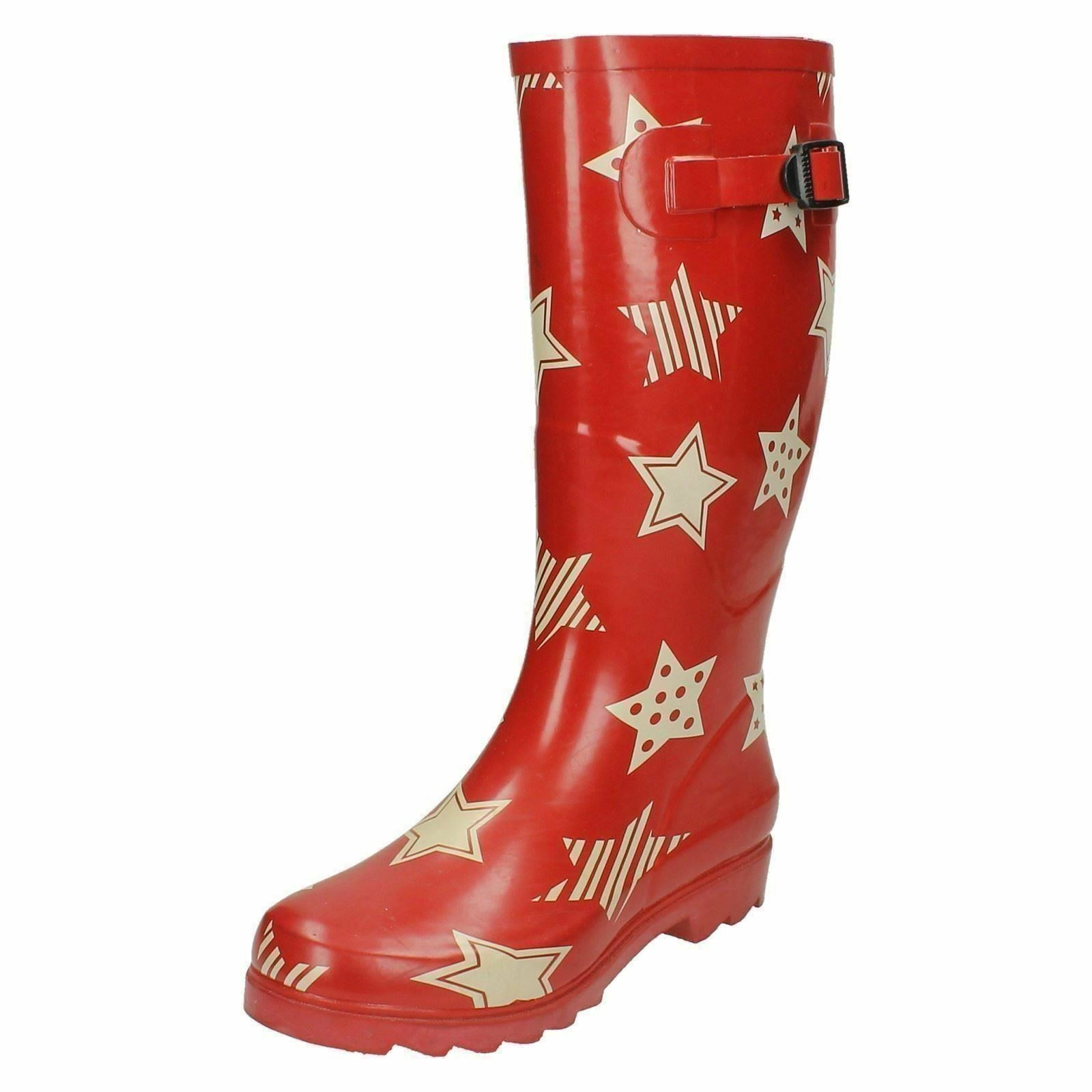 Ladies X1044 Red with white stars rubber wellington boots by SPOT ON