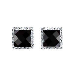 Women Men Black Agate Square Stud Earrings 8mm CZ Micro Pave 925 Sterling Silver