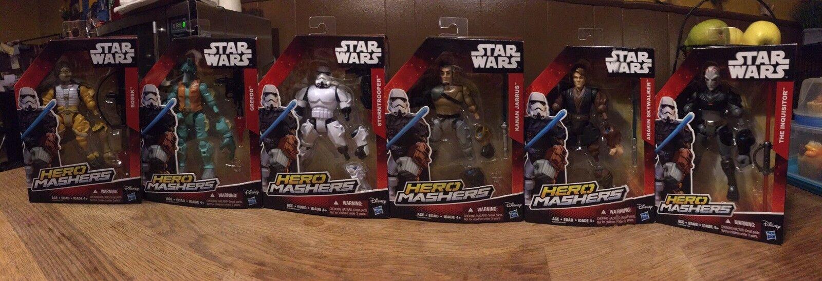 Lot  Of 6 Hasbro Star Wars HERO MASHERS