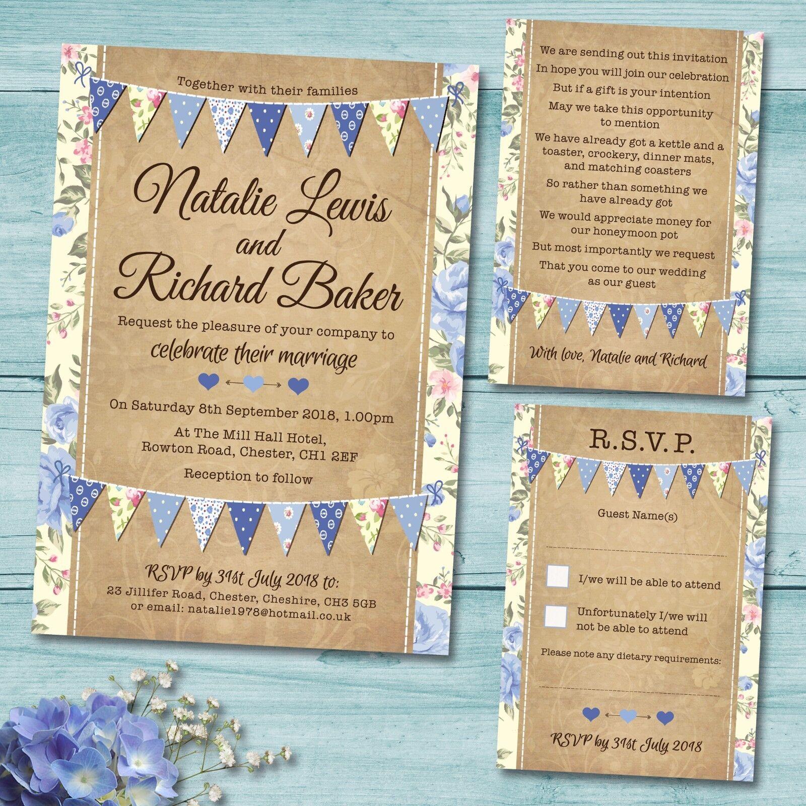 Details About Evening Wedding Invitation Set Rsvp Card Gift Poem Vintage Blue Bunting