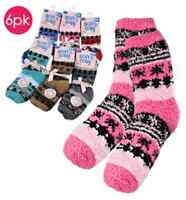 Fuzzy Socks Chenille Warm Slippers Striped In 6 Colors Women's Pack Of 6 Pairs