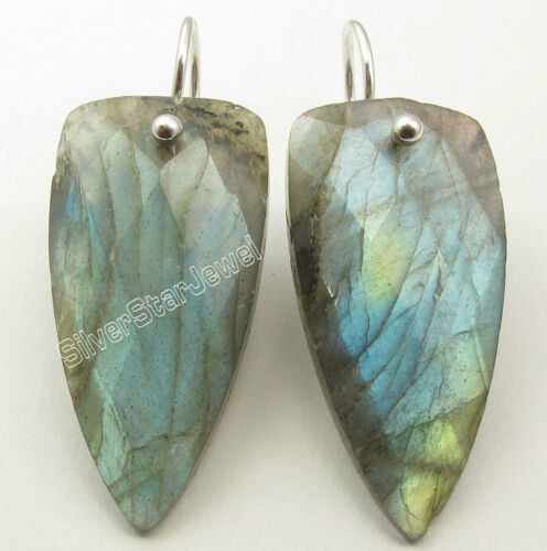 "925 Solid Silver BLUE FIRE LABRADORITE STYLISH Triangle Earrings 1.5/"" 7.4 Grams"