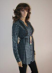 Damen-Karo-Longbluse-petrol-schwarz-Gr-34-36-Bluse-Hemd-Langarm-Top-Shirt-034