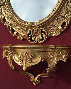 Espejo De Pared Antiguo Ovalado Negro Oro 45x37 Baño Barroco Oval Spiege Muebles Antiguos Y Decoración