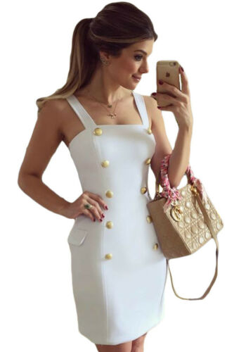 Abito Bottoni nudo Aderente Top Scollo Aperto Mini Button Fly Side Mock Dress M