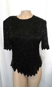 NEW-Laurence-Kazar-Womens-Large-Black-Short-Sleeve-Blouse-Embellished-L-NWT
