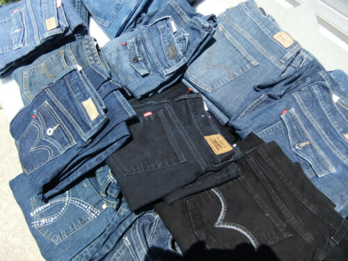 50 Pairs Blue Ladies Jeans Bulk Sale Many Brands Mixed Lots /& Sizes See F//backs