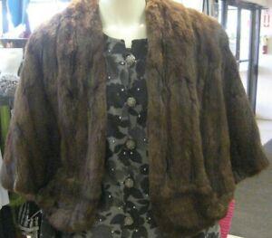 Authentic-Vintage-Real-Mahogany-MINK-Fur-Salon-Mink-Stole-Shawl-Collar-Shrug