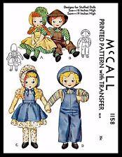 "Vintage Stuffed DOLL Sewing Pattern McCall # 1158 Sunbonnet Sue 18"" & Sam 19"""