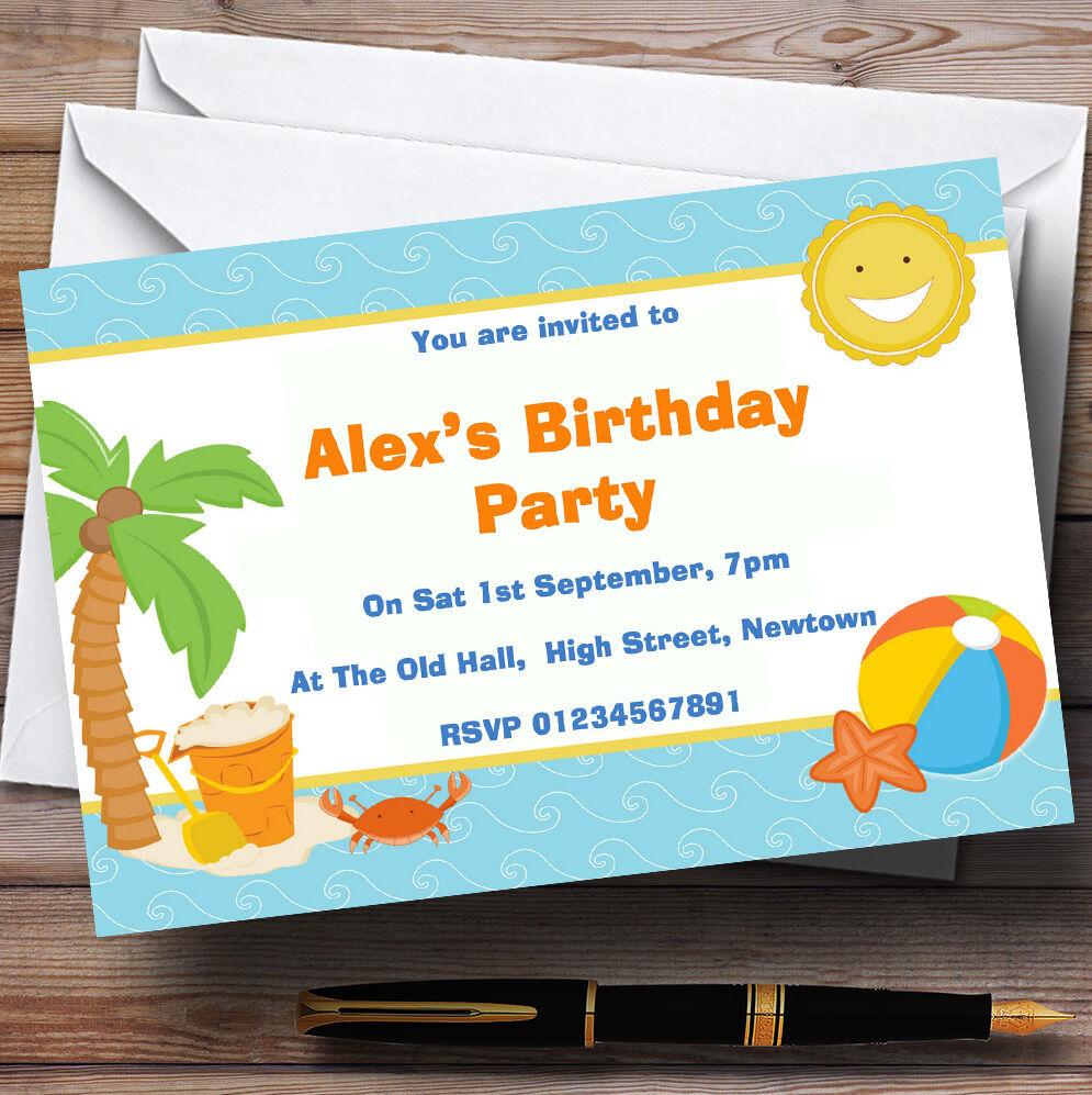 Vacaciones de playa Piscina tema Personalizado Fiesta De Cumpleaños Invitaciones-Th5