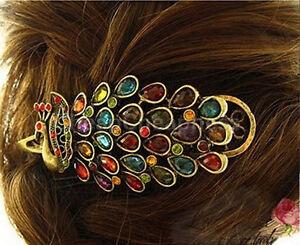 Lady-Girl-Vintage-Pfau-Schwanz-Strass-Pfau-Haarspange-Haarnadel-Haarspange-ZP