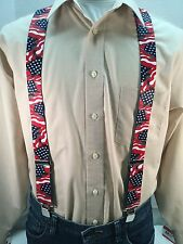 "New, Men's, Waving U.S. Flag, XL, 1.5"", Adj. Suspenders / Braces, Made in USA"