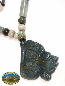 dac9ac1ac7b83 Details about RARE OLMEC BLUE GUATEMALAN MAYAN FACE JADE PENDANT NECKLACE  rough MAYAN MOUNTAIN