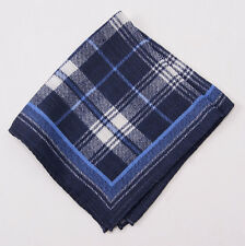 New $135 ERMENEGILDO ZEGNA Blue-Navy Plaid Check Wool and Silk Pocket Square