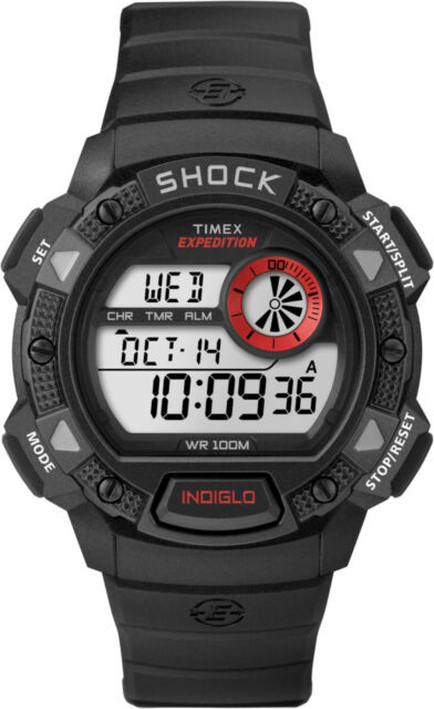 Timex T49977 Mens Black Expedition Base Shock Chronograph Watch