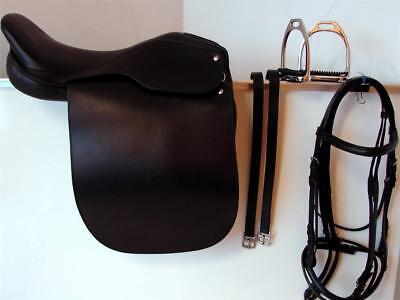 """21/"""" Saddleseat Lane Fox Cutback English Saddle w// SOFTEY Seat Bridle /& Fittings"""