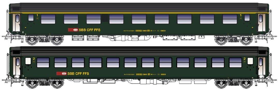 LS Models 47222 2x SBB CFF FFS PASSENGER CAR 1. +2.Kl. UIC-X Green Ep4-5 NEW + OVP