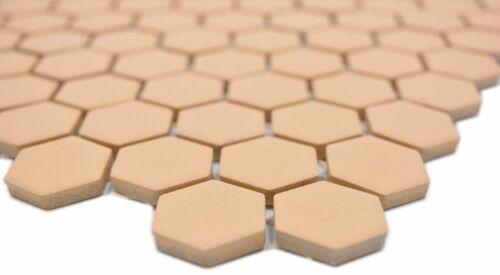 Céramique Mosaïque Ocre Orange compacte hexagonale β Mur Sol Cuisine Bain Douche 11h-1208-r10/_f