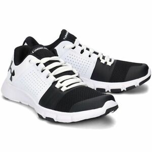 Men-039-S-Under-Armour-UA-Strive-7-BIANCO-NERO-SCARPE-DA-TRAINING-TG-UK-8-13