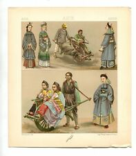 Antique Print Litho ASIA CHINA Womens Costume clothes 1888 Le Costume Historique