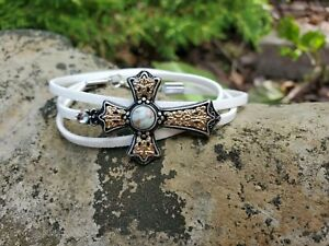womens-handmade-white-wrap-bracelet-with-a-golden-cross-amp-added-crystal