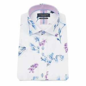 73c26e34f Details about Guide London White Floral Print Men's Short Sleeve Shirt