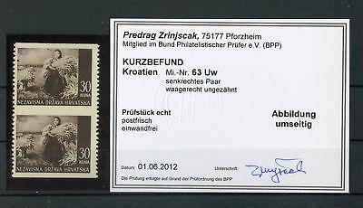 132668 Up-To-Date-Styling Kroatien Nr.63uw ** Paar Abart Befund Zrinjsak Bpp !!!