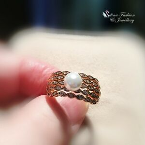 18K-Yellow-Gold-Filled-Simulated-Pearl-Diamond-Split-Curved-Band-Cocktail-Ring
