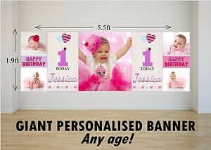 Personalised-GIANT-Large-Happy-Birthday-Banner-Girls-1st-2nd-Heart-Balloons-N69