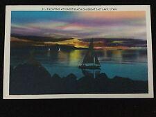 1954 Yachting at Sunset Beach on Great Salt Lake, UT postcard