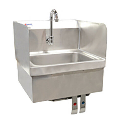 Stainless Steel Wall Mount Hand Sink With Knee Valve And Faucet Omcan 22288  | EBay