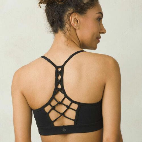 NWT Womens Black S Elixir PrAna Yoga Pilates Strappy Top Bra New Gym Cups Adjus