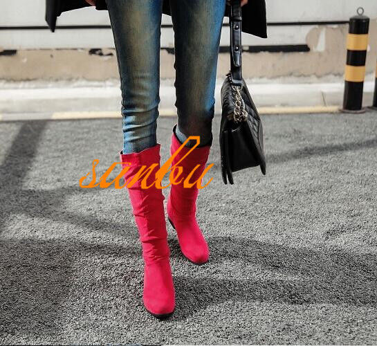 Womens Slouch Hidden Heel  Pull On knee High Boots Round Toe Casual shoes New Sz