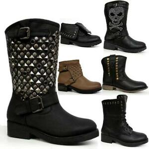 b87d2477410a8 Ladies Biker Boots Womens Girls Winter Smart Riding Army Ankle Goth ...
