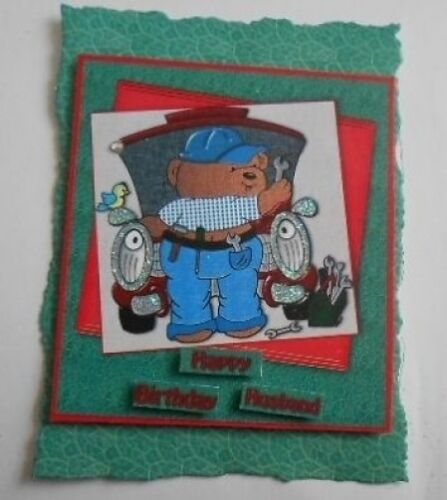 PK 2 MECHANIC HAPPY BIRTHDAY HUSBAND EMBELLISHMENT TOPPERS FOR CARDS AND CRAFTS