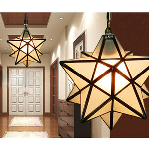 pentagram star crystal ceiling light lantern pendant shade. Black Bedroom Furniture Sets. Home Design Ideas