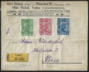 LIECHTENSTEIN-1912-Sc-1-3-TIED-VADUZ-ON-REGISTERED-COVER-TO-RIESA-SAXONY-TWO-FOL