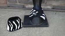 Zebra blk/white medium horse no turn bell/overreach boots w/quick-grip tabs