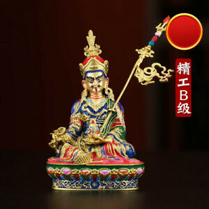 Details About Tibetan Brass Gilt Coloured Painting Buddhism Padmasambhava Buddha Statue