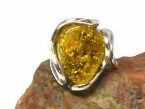 Adjustable-Green-AMBER-Sterling-Silver-925-Gemstone-RING
