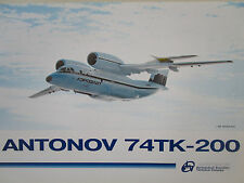 1996 DOCUMENT 1 PAGE RECTO VERSO ANTONOV AN-74TK-200 TRANSPORT AIRCRAFT