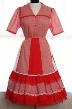 Vtg Red Wht Gingham Prairie Square Dance Western 2pc Dress Full Circle Skirt