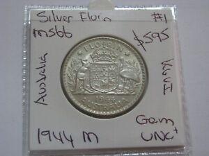 Australia-1944-Silver-Florin-coin-Gem-Choice-Unc-Nice-Coin-CV-700