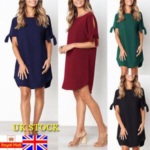 Details about Plus Size UK Women Summer Short Sleeve Plain Shift Dress  Ladies Tunic Mini Dress