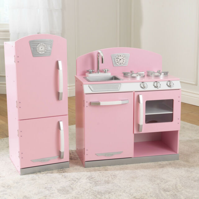 KidKraft 53160 Pink Retro 2 Piece Kitchen Refrigerator Playset Kids Play Set