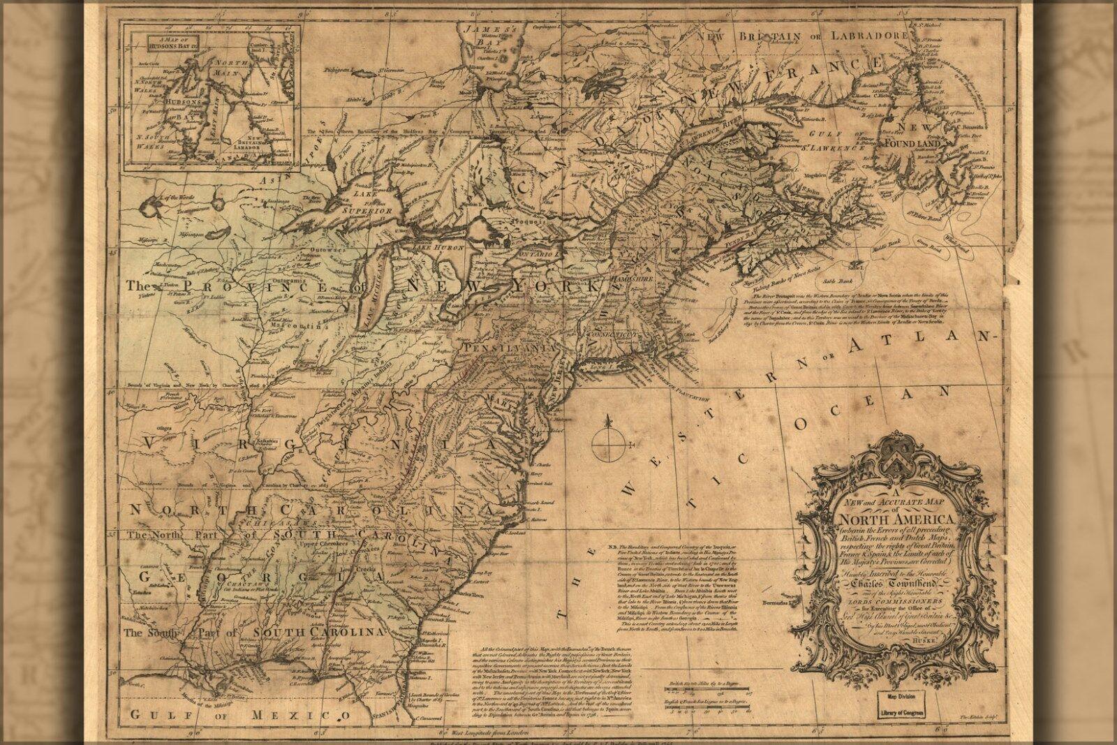 Plakat, Viele Größen; Karte von North America vor Vereinigte Staaten 1755