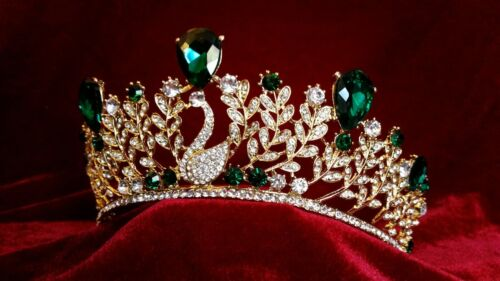 Gold tiara with emerald green peacock leaf wedding prom bridal occasions queen