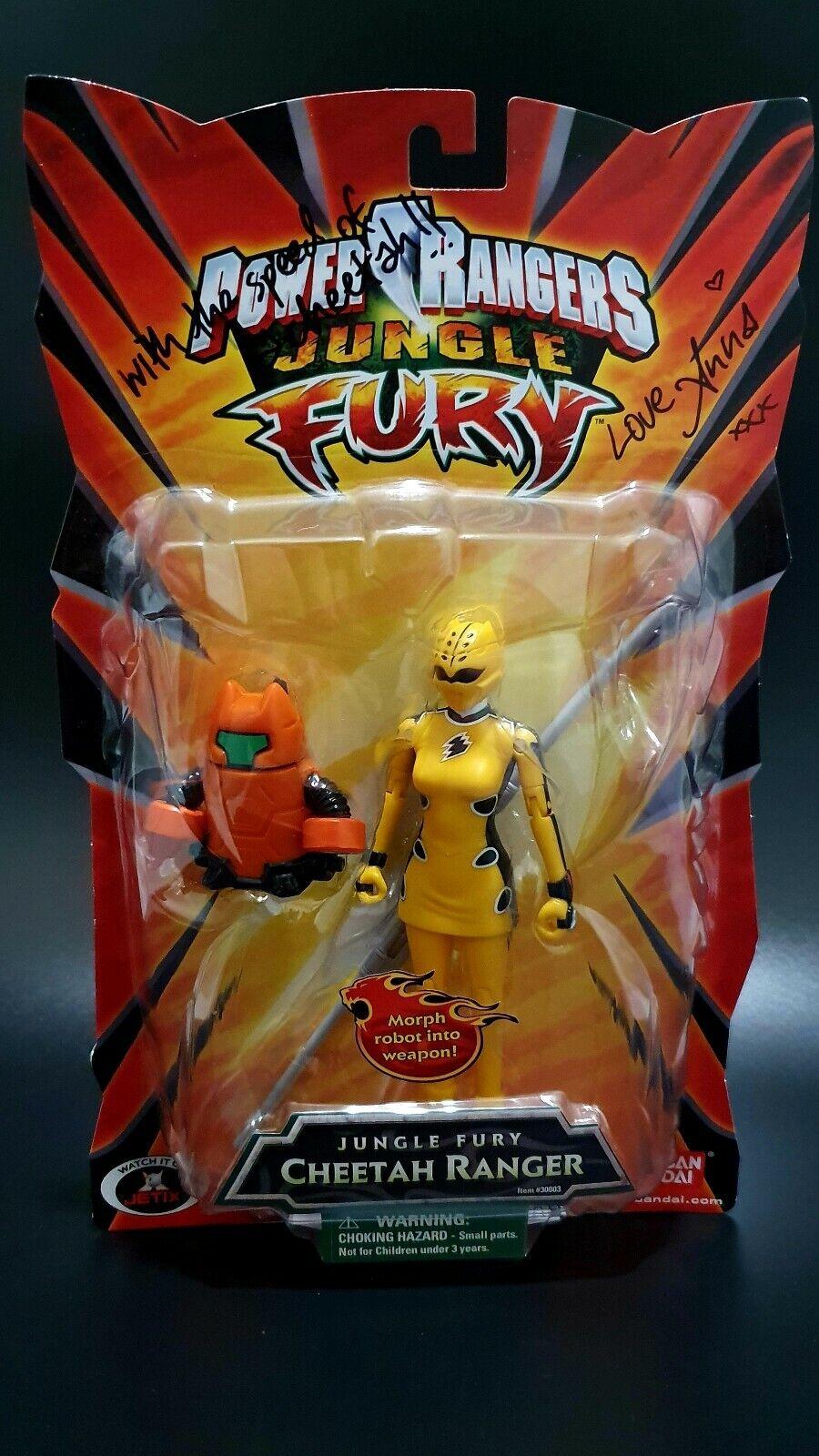 Power Rangers Jungle Fury firmado 5  amarillo Cheetah acción figura menta tarjeta 2007