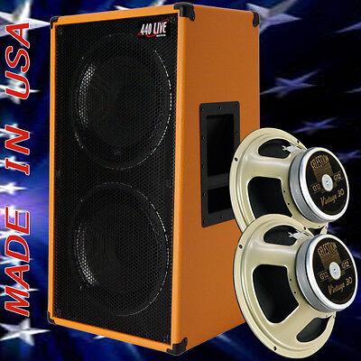 2x12 vertical guitar speaker cabinet orange tolex w celestion vintage 30 spkrs ebay. Black Bedroom Furniture Sets. Home Design Ideas